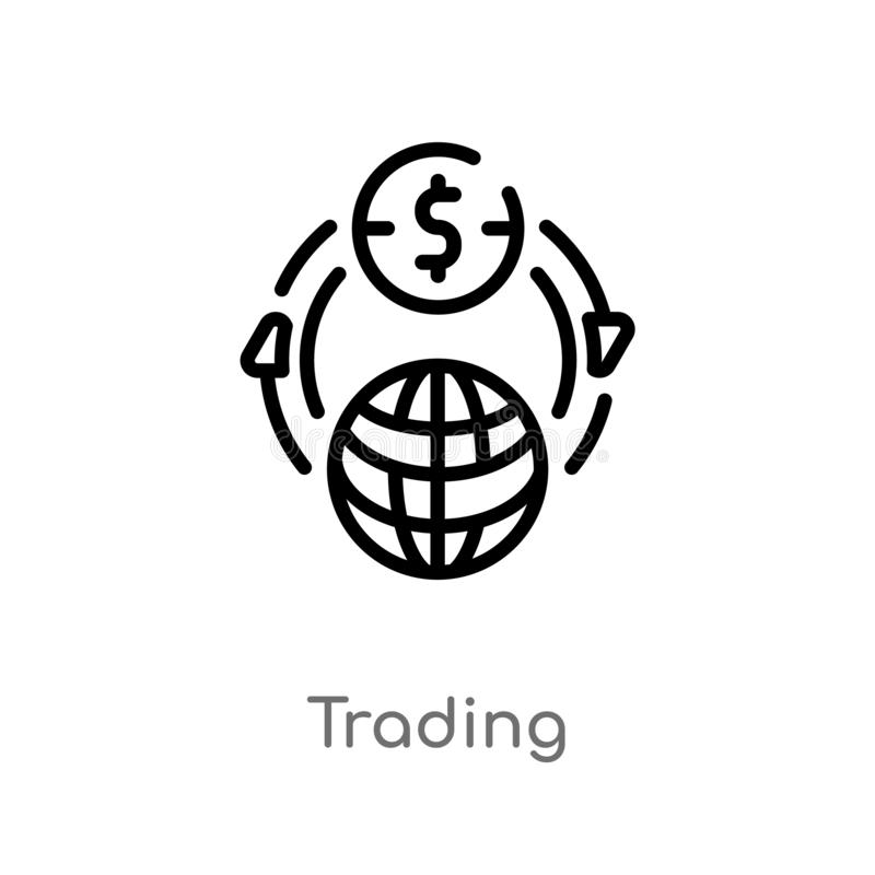icono del vector del comercio del esquema l?nea simple negra aislada ejemplo del elemento del comercio y del concepto que hace co ilustración del vector