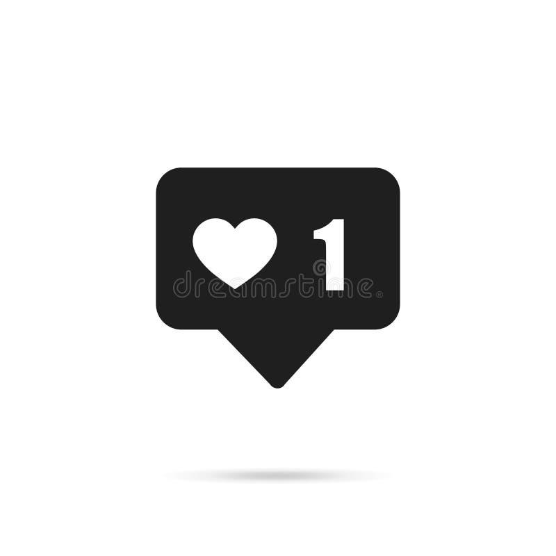 Icono del vector como 1 Pulgares encima de Instagram con forma del corazón Icono social de los medios en fondo aislado EPS10 ilustración del vector