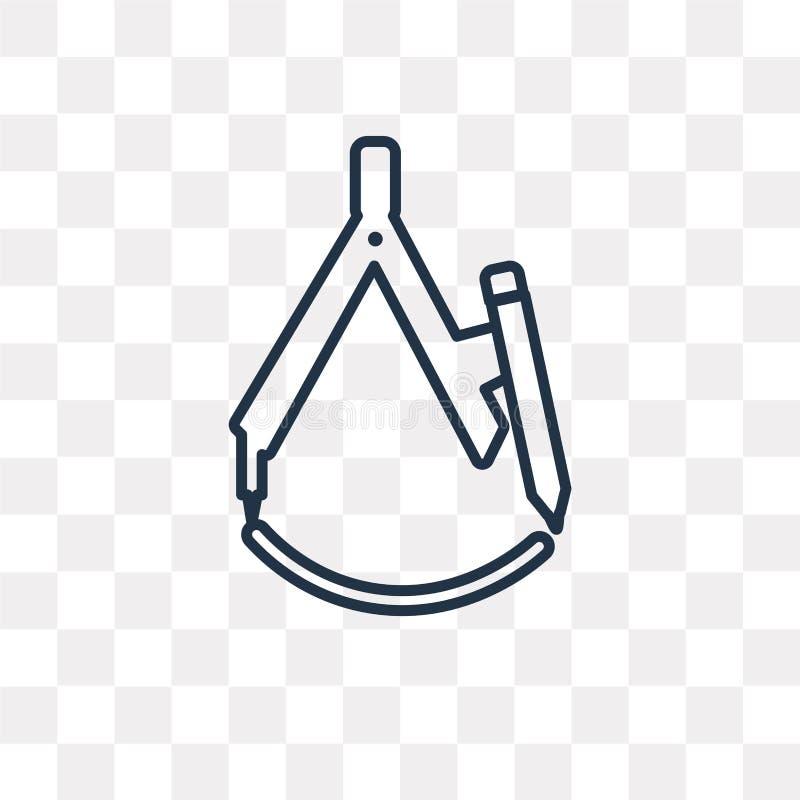 Icono del vector del compás de dibujo aislado en fondo transparente, stock de ilustración