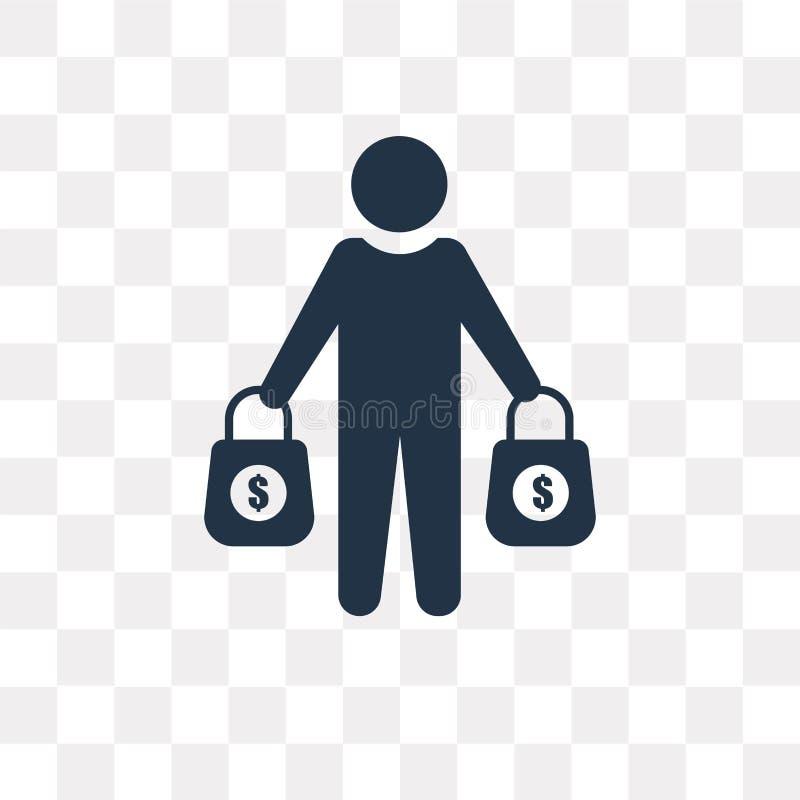 Icono del vector del comprador aislado en el fondo transparente, tra del comprador ilustración del vector
