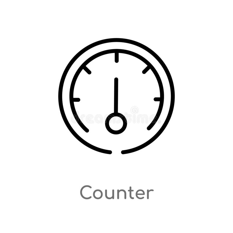 icono del vector del contador del esquema línea simple negra aislada ejemplo del elemento del concepto del transporte Movimiento  ilustración del vector