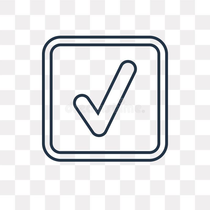 Icono del vector del control aislado en el fondo transparente, Che linear stock de ilustración