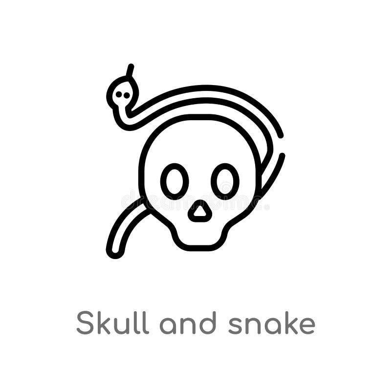 icono del vector del cr?neo y de la serpiente del esquema l?nea simple negra aislada ejemplo del elemento del concepto de las for libre illustration