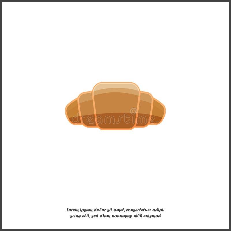Icono del vector del cruasán Símbolo del desayuno, pasteles deliciosos ilustración del vector