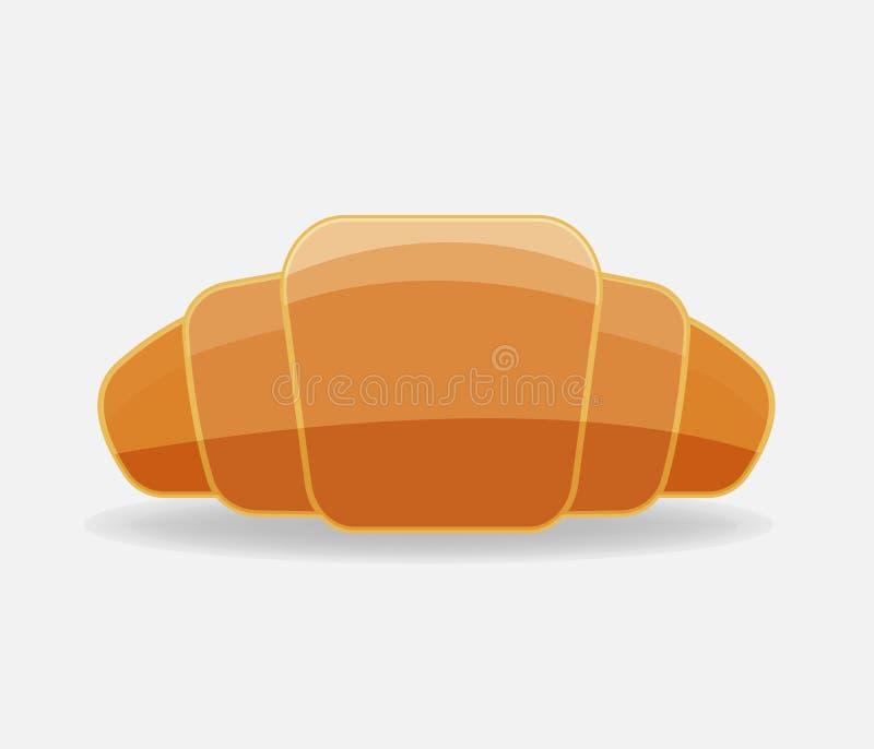 Icono del vector del cruasán Símbolo del desayuno, pasteles deliciosos endecha libre illustration