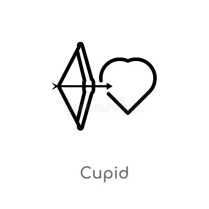 icono del vector del cupido del esquema línea simple negra aislada ejemplo del elemento del concepto de la fiesta y de la boda de stock de ilustración