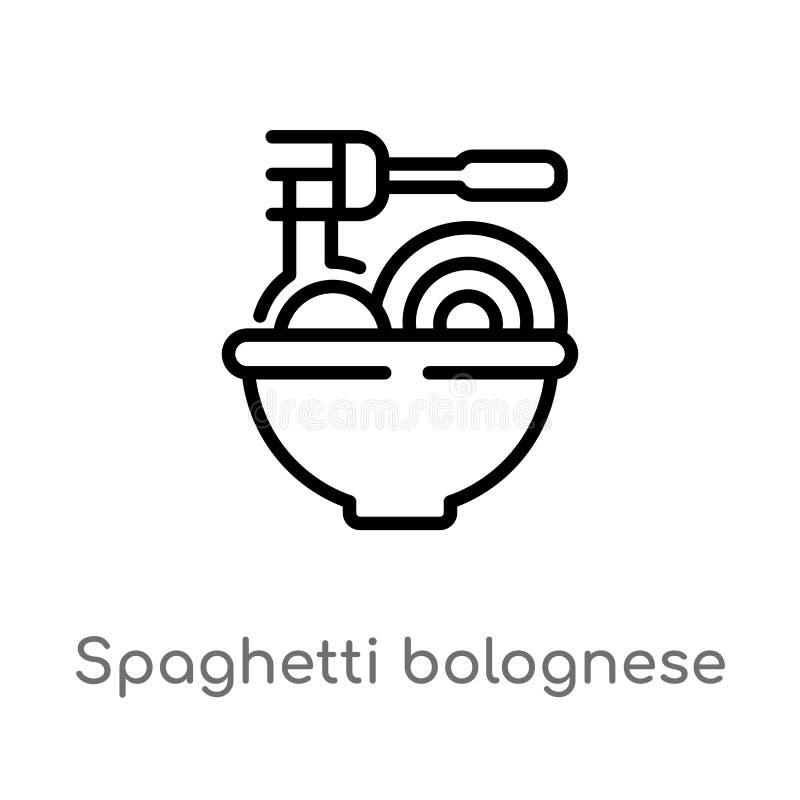 icono del vector de bolo??s de los espaguetis del esquema l?nea simple negra aislada ejemplo del elemento del concepto de los bis stock de ilustración