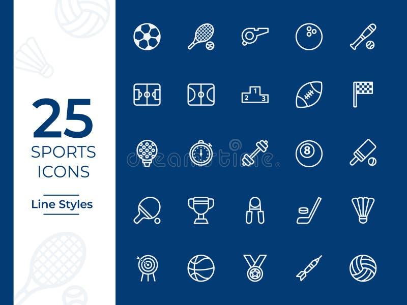 Icono del vector de 25 deportes esquema simple para el sitio web o el app móvil ilustración del vector