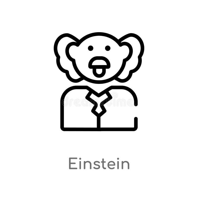 icono del vector de einstein del esquema l?nea simple negra aislada ejemplo del elemento del concepto de la ciencia Movimiento Ed stock de ilustración