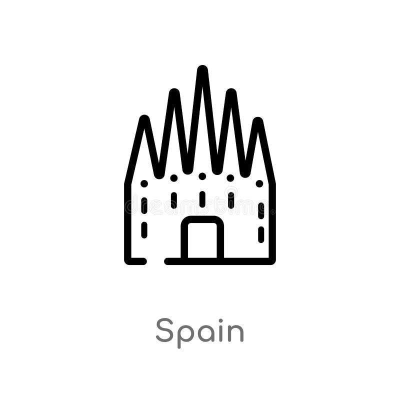 icono del vector de Espa?a del esquema l?nea simple negra aislada ejemplo del elemento del concepto de los monumentos movimiento  libre illustration