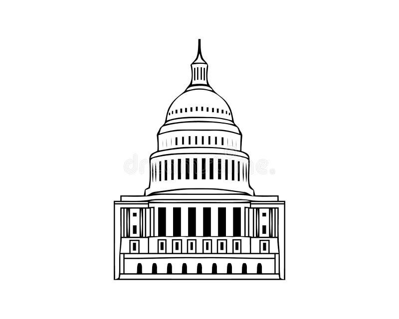 Icono del vector de Estados Unidos Capitol Hill que construye el diseño blanco del símbolo del congreso americano de la C.C. de W ilustración del vector