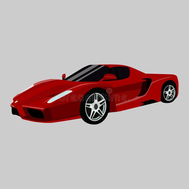Icono del vector de Ferrari F12 Berlinetta en un fondo gris Ejemplo rojo del coche aislado en gris Realista auto de lujo ilustración del vector
