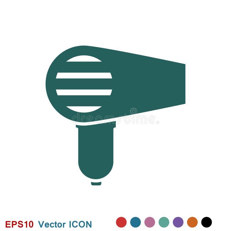 Icono del vector de Hairdryer Pelo que seca el s?mbolo, s?mbolo moderno de la p?gina web de UI libre illustration