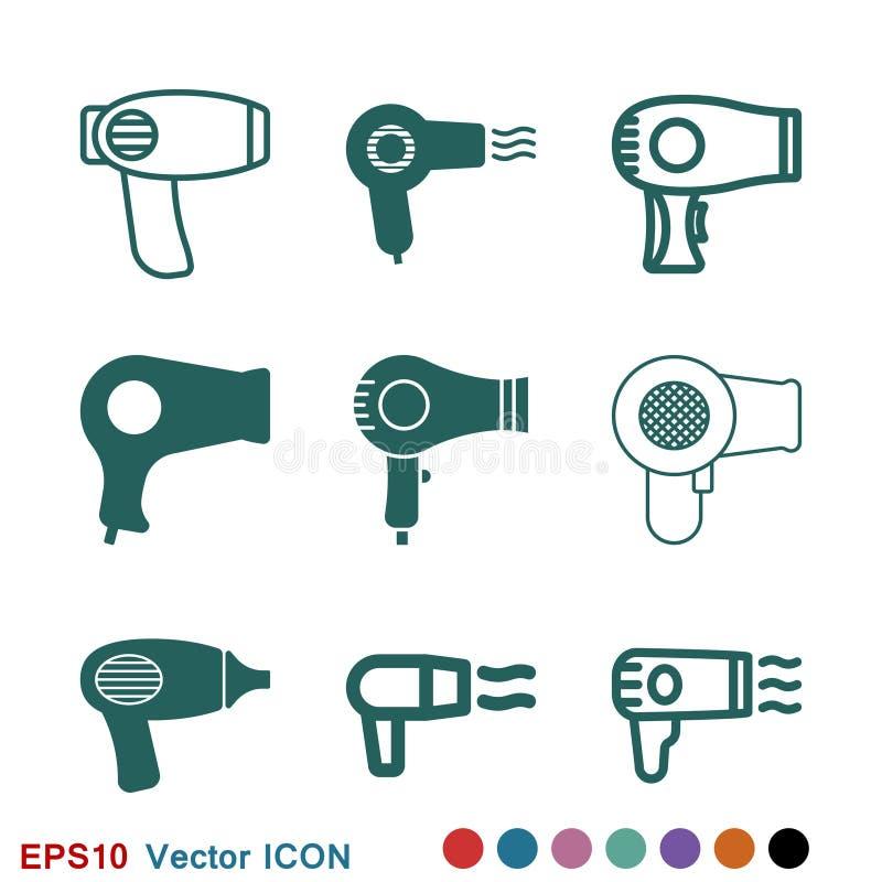Icono del vector de Hairdryer Pelo que seca el s?mbolo, s?mbolo moderno de la p?gina web de UI stock de ilustración