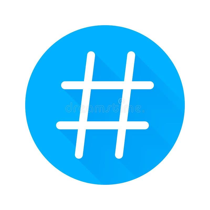 Icono del vector de Hashtag para el uso social de la red o de Internet Hashtag aisló símbolo en fondo azul del blanco del círculo libre illustration