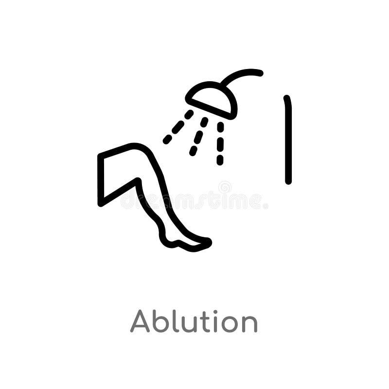 icono del vector de la ablución del esquema l?nea simple negra aislada ejemplo del elemento del concepto de la higiene Movimiento libre illustration