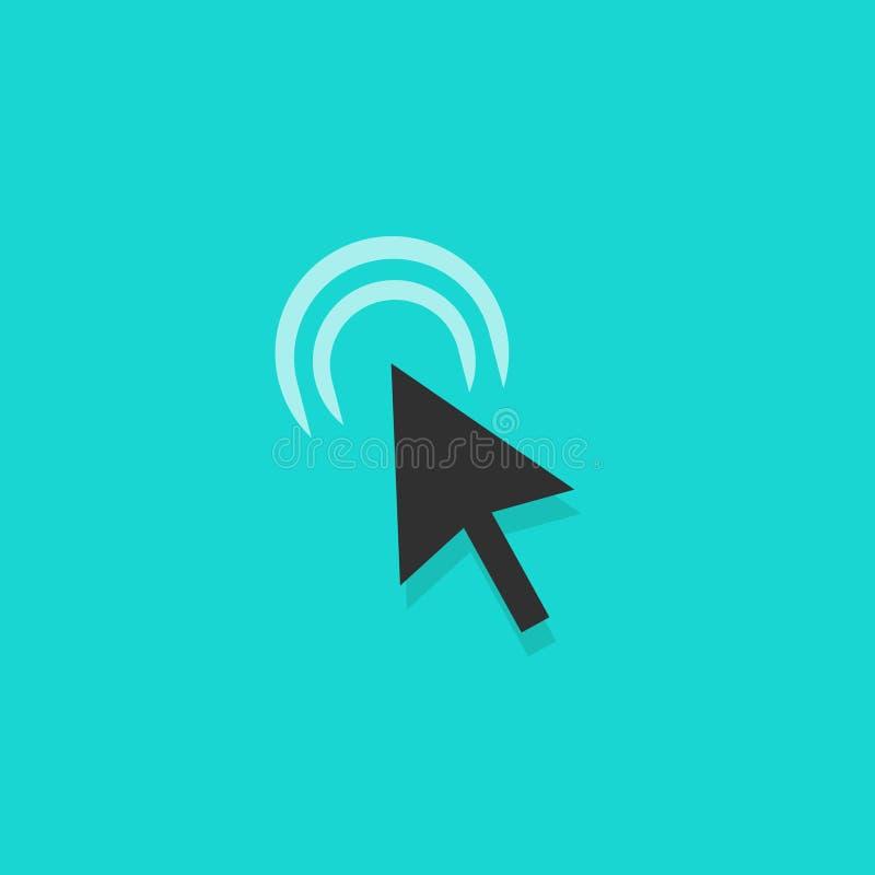 Icono del vector de la acción del tecleo de la flecha del ratón, cursor que hace clic el indicador del símbolo stock de ilustración