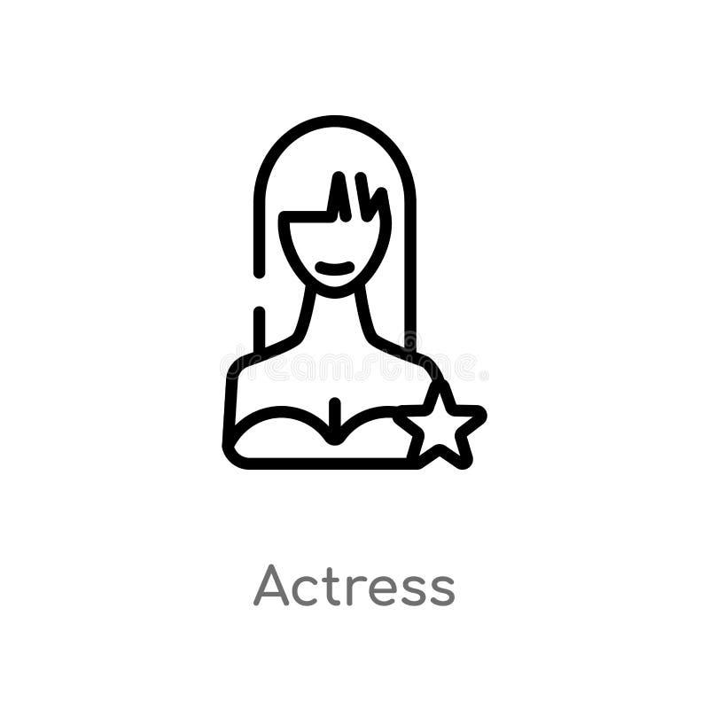 icono del vector de la actriz del esquema l?nea simple negra aislada ejemplo del elemento del concepto del cine actriz editable d libre illustration