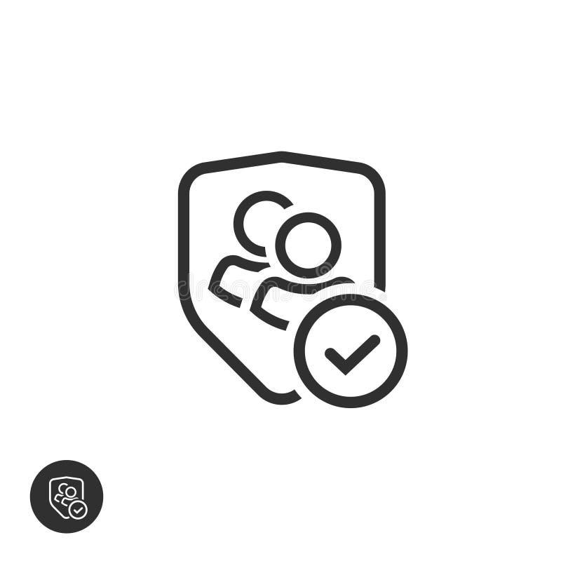 Icono del vector de la aislamiento del grupo de usuarios, línea datos auténticos o confidenciales del esquema del equipo, dos per stock de ilustración