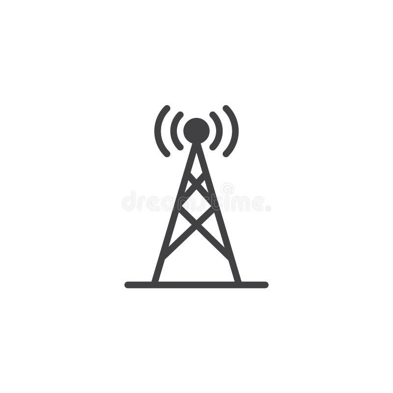 Icono del vector de la antena de radio ilustración del vector