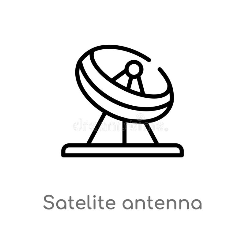 icono del vector de la antena de sat?lite del esquema l?nea simple negra aislada ejemplo del elemento del otro concepto Movimient libre illustration