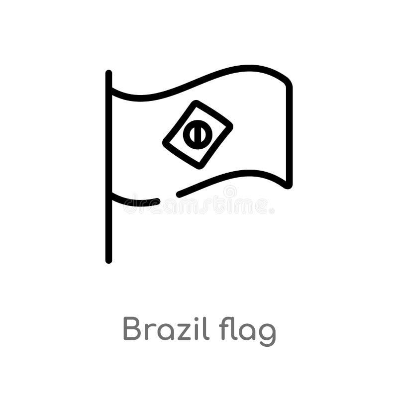 icono del vector de la bandera del Brasil del esquema l?nea simple negra aislada ejemplo del elemento del concepto de la cultura  stock de ilustración