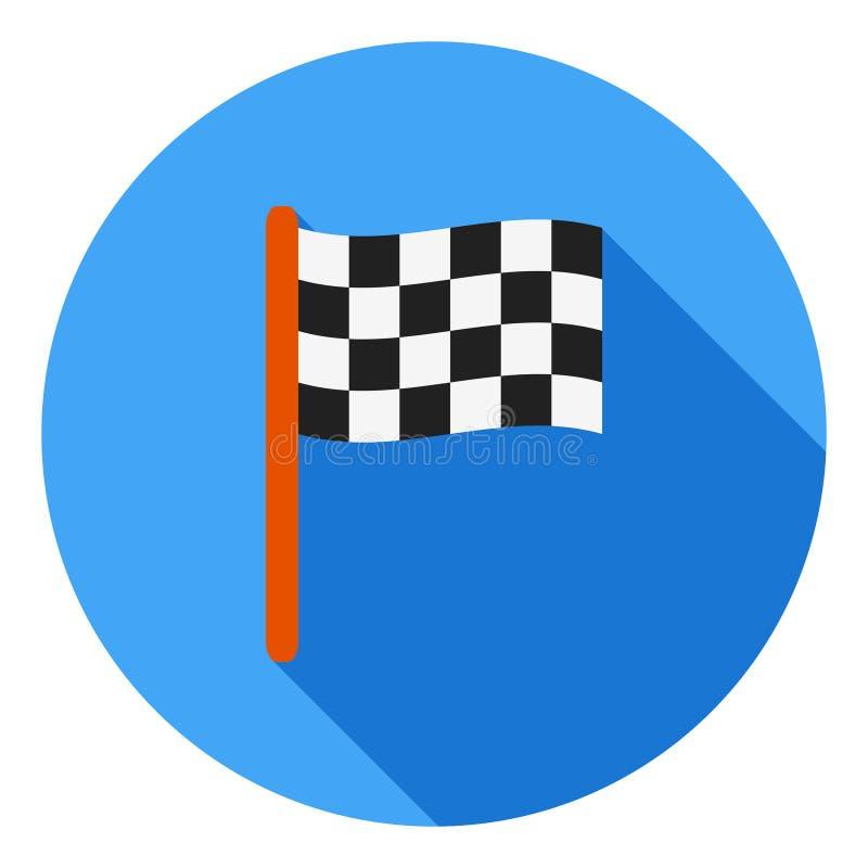 Icono del vector de la bandera del final, icono de los deportes de la raza, compitiendo con símbolo de la bandera Icono largo mod stock de ilustración