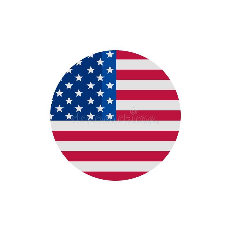 Icono del vector de la bandera de los E.E.U.U. ilustración del vector