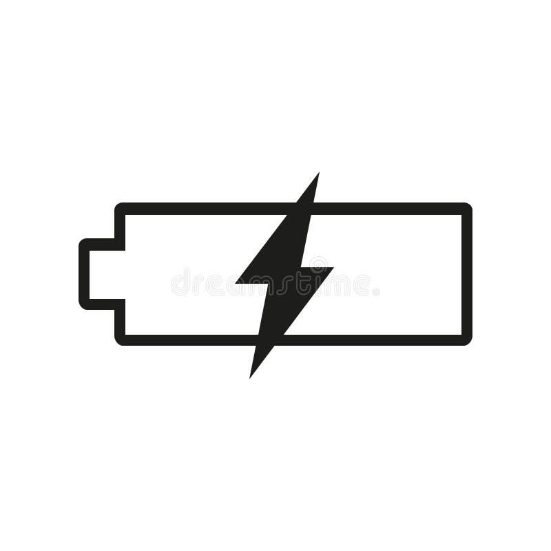 Icono del vector de la batería, símbolo de la carga Diseño simple, plano para la web o app móvil stock de ilustración