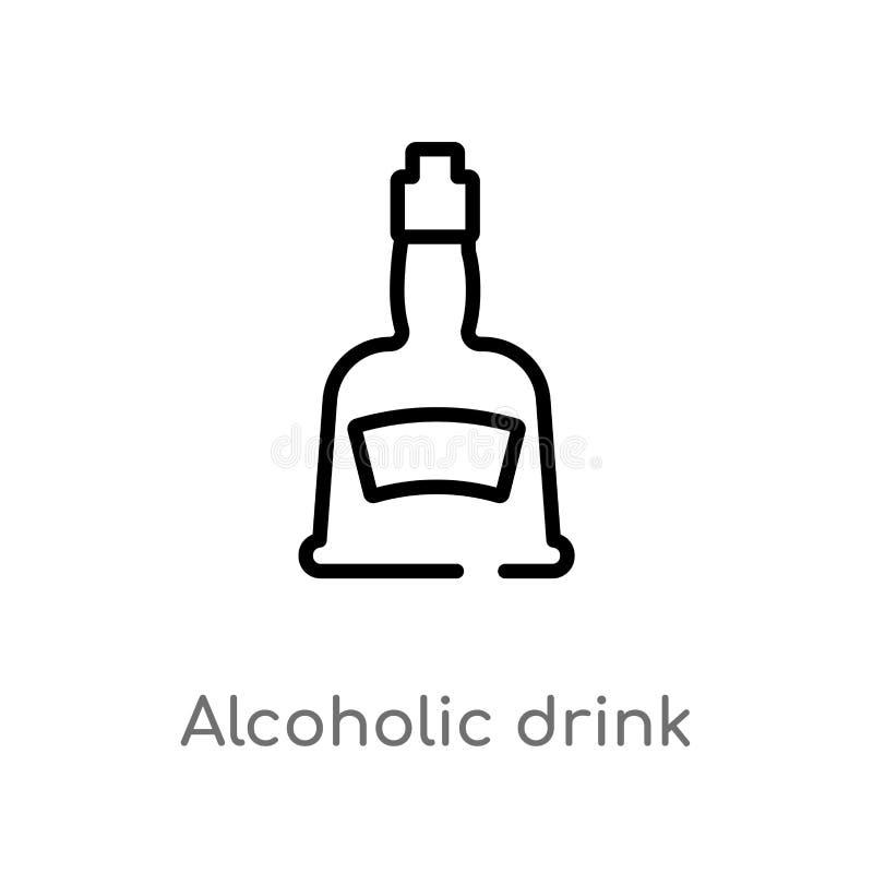 icono del vector de la bebida alcohólica del esquema línea simple negra aislada ejemplo del elemento del concepto de los alimento stock de ilustración