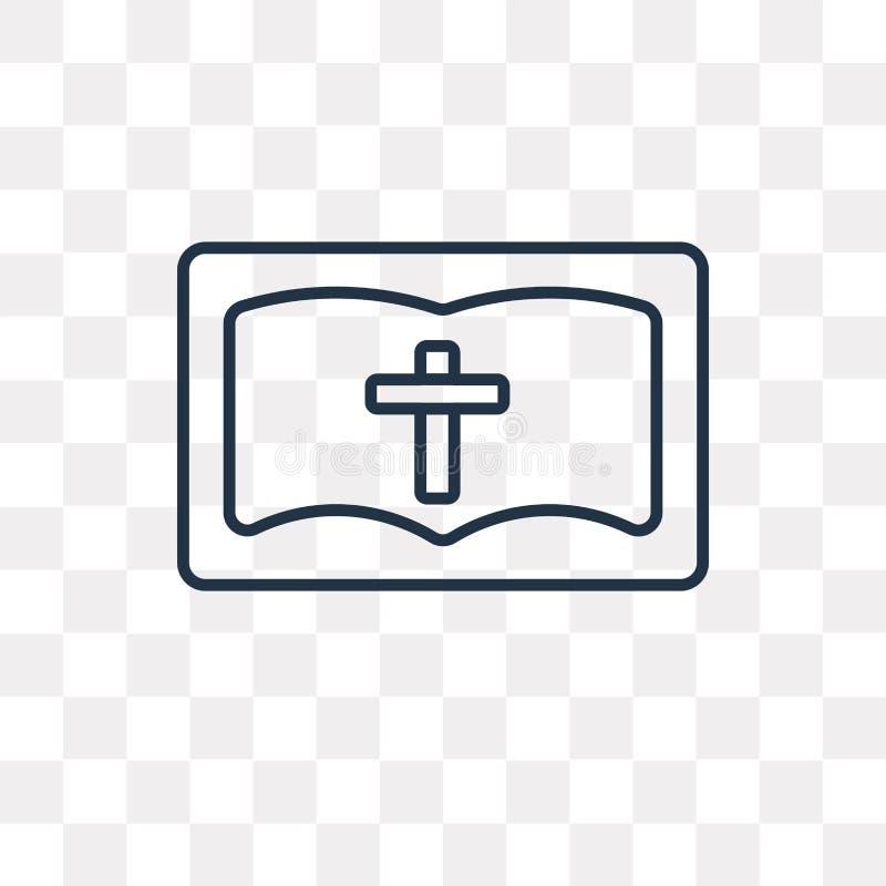 Icono del vector de la biblia aislado en el fondo transparente, babero linear stock de ilustración