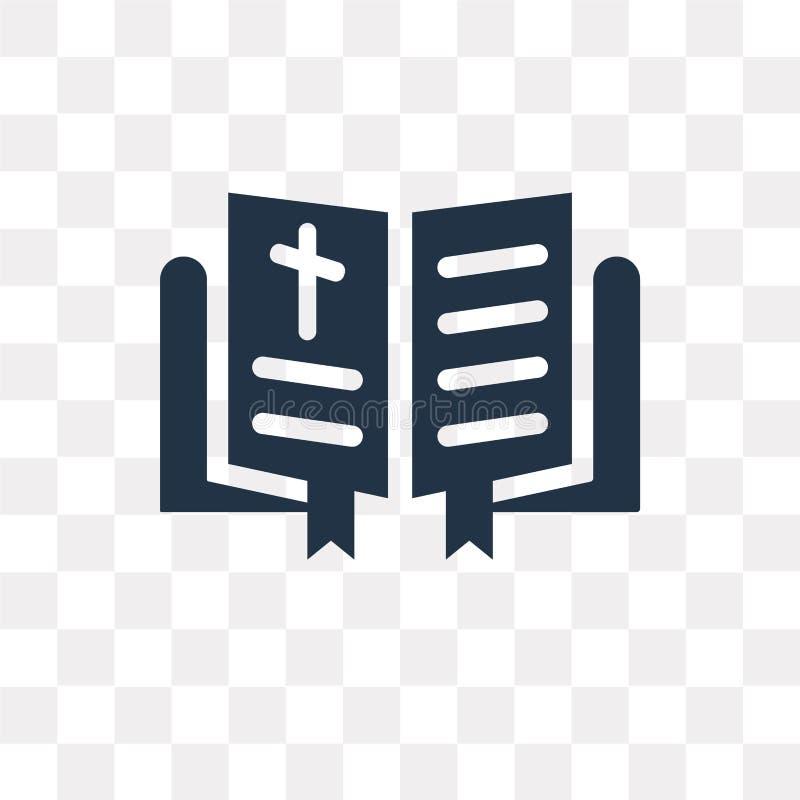 Icono del vector de la biblia aislado en el fondo transparente, tra de la biblia ilustración del vector