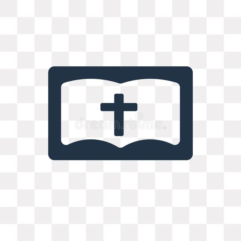 Icono del vector de la biblia aislado en el fondo transparente, tra de la biblia stock de ilustración