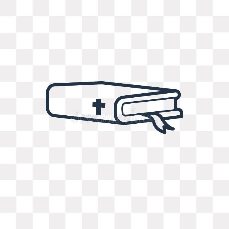 Icono del vector de la biblia en el fondo transparente, babero linear stock de ilustración