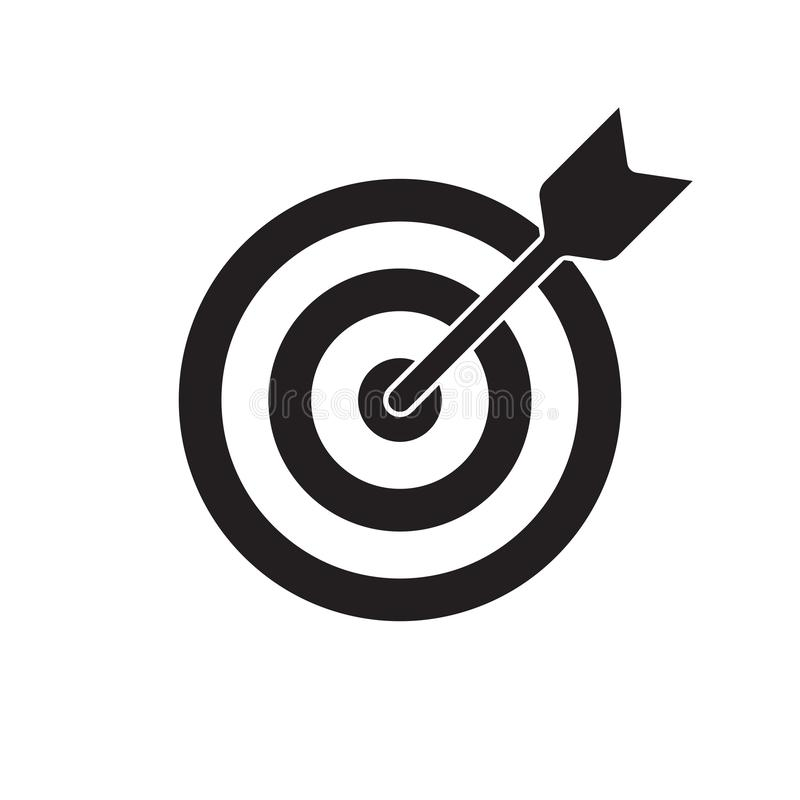 Icono del vector de la blanco y de la flecha Lanzamiento de la diana, símbolo del foco de la blanco del objetivo de negocio stock de ilustración