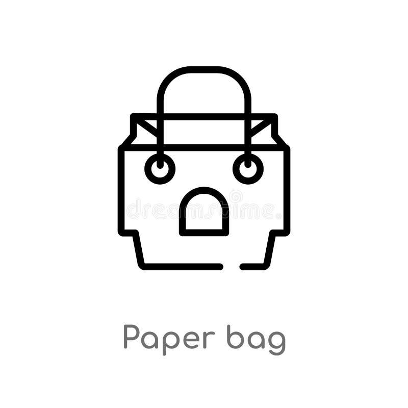 icono del vector de la bolsa de papel de esquema línea simple negra aislada ejemplo del elemento del concepto de los alimentos de stock de ilustración