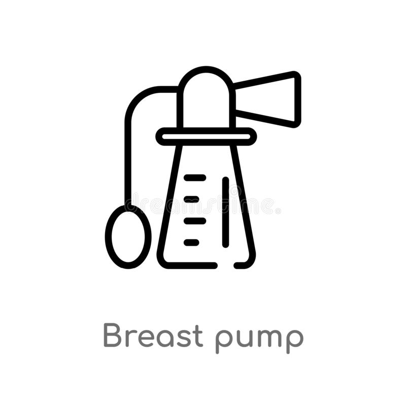 icono del vector de la bomba de lactancia del esquema l?nea simple negra aislada ejemplo del elemento de la salud y del concepto  stock de ilustración