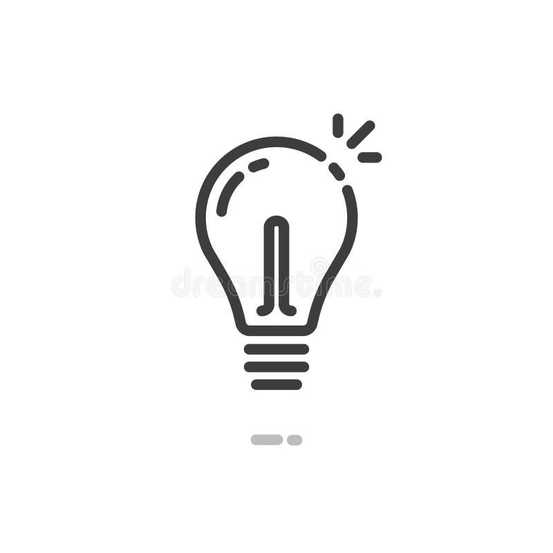 Icono del vector de la bombilla, línea símbolo de la bombilla del arte del esquema aislado en el clipart blanco stock de ilustración