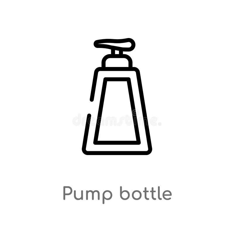 icono del vector de la botella de la bomba del esquema l?nea simple negra aislada ejemplo del elemento del concepto de la higiene stock de ilustración