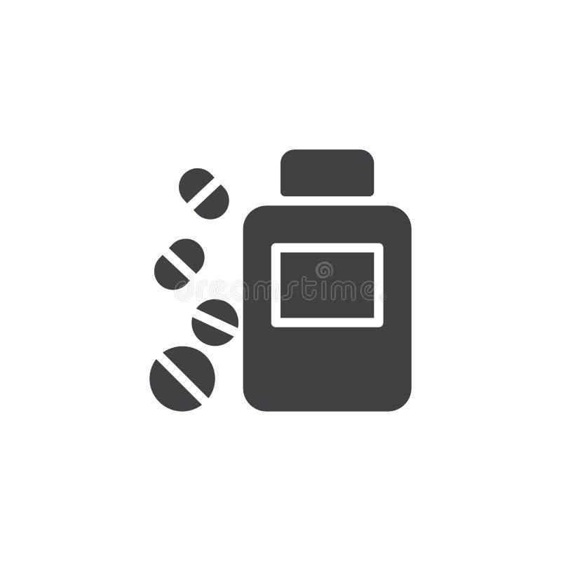 Icono del vector de la botella de píldoras stock de ilustración