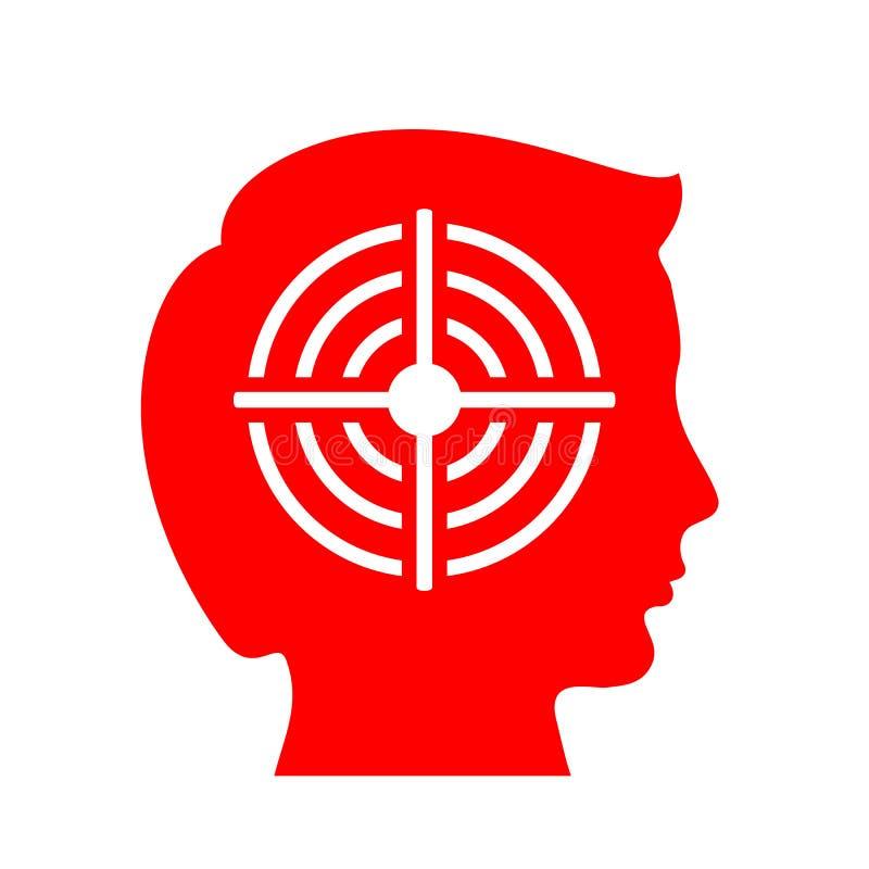Icono del vector de la cabeza y de la diana libre illustration