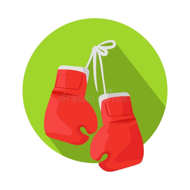 Icono del vector de la caja con los guantes de boxeo rojos clásicos ilustración del vector