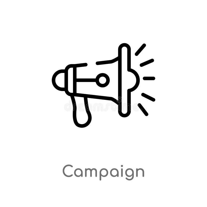 icono del vector de la campaña del esquema línea simple negra aislada ejemplo del elemento del concepto de comercialización Movim stock de ilustración