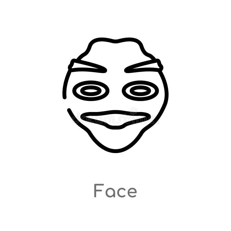 icono del vector de la cara del esquema línea simple negra aislada ejemplo del elemento del concepto de la historia icono editabl stock de ilustración