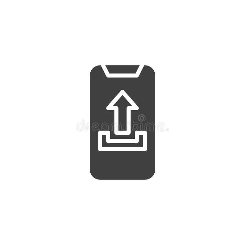 Icono del vector de la carga por teletratamiento del teléfono móvil stock de ilustración