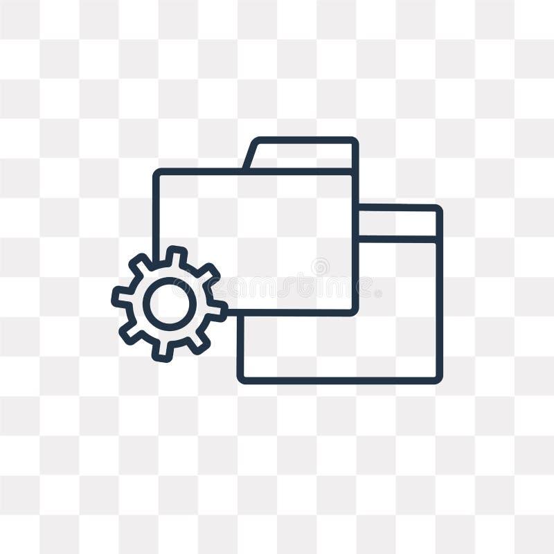 Icono del vector de la carpeta aislado en el fondo transparente, FO lineares ilustración del vector