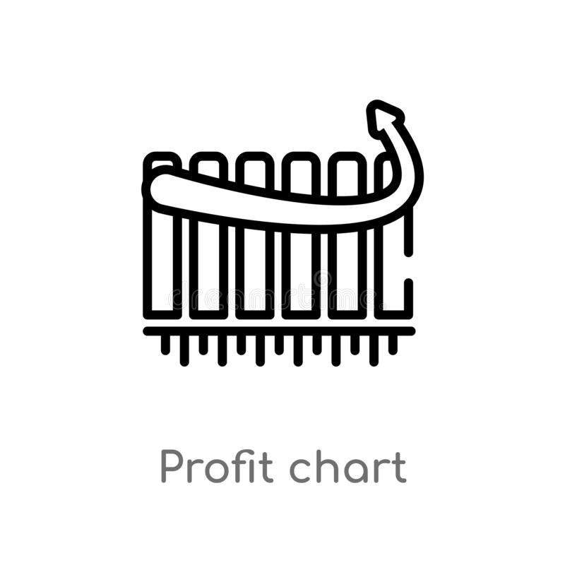 icono del vector de la carta del beneficio del esquema l?nea simple negra aislada ejemplo del elemento del concepto del negocio M libre illustration