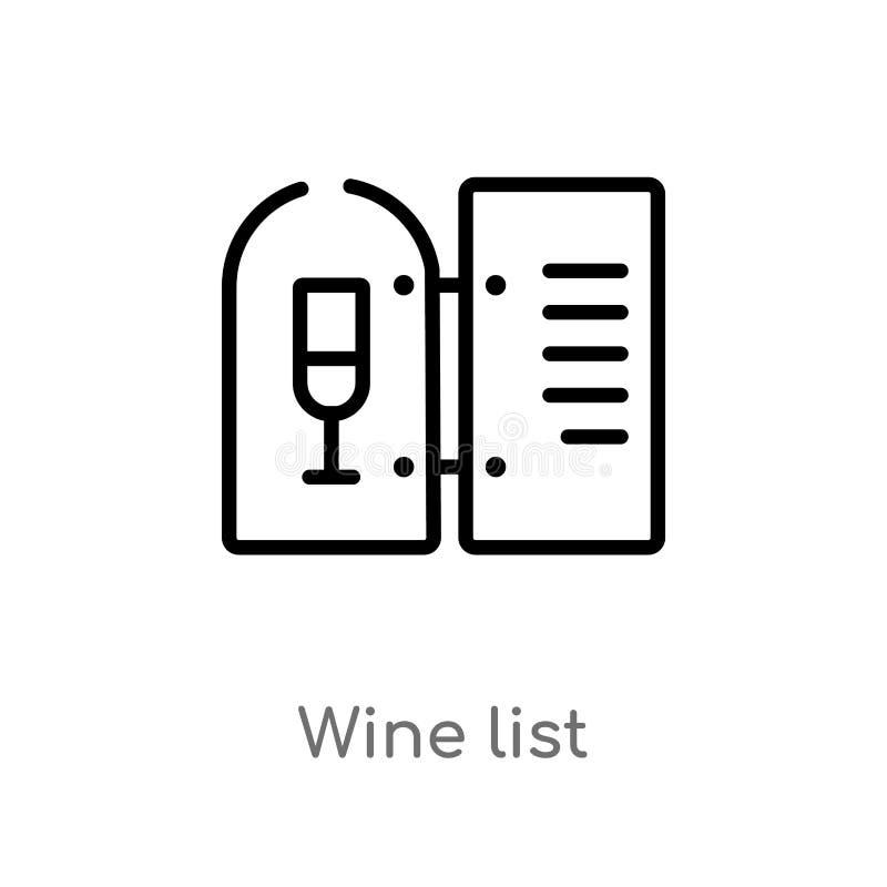 icono del vector de la carta de vinos del esquema línea simple negra aislada ejemplo del elemento del concepto de las bebidas vin stock de ilustración