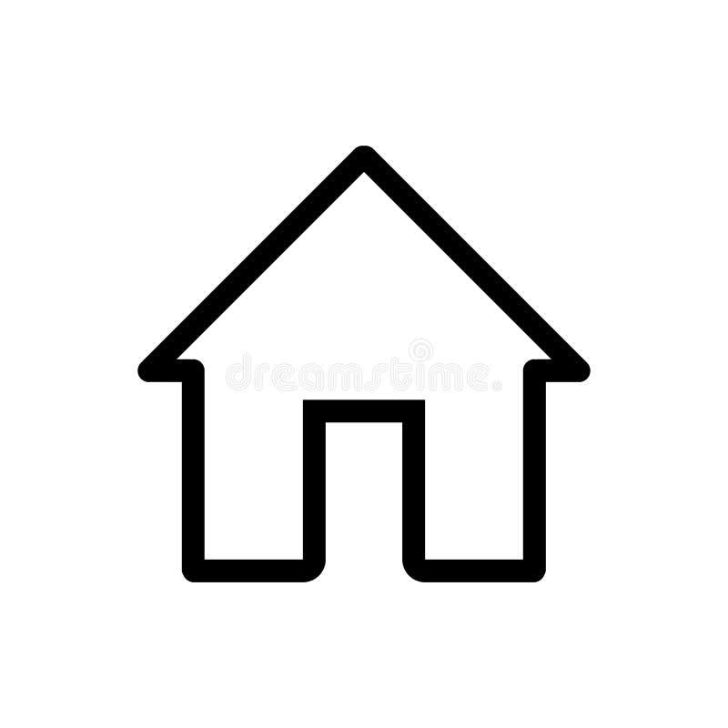 Icono del vector de la casa Ejemplo casero blanco y negro Icono linear de la casa del esquema para las aplicaciones móviles ilustración del vector
