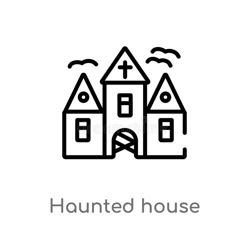 icono del vector de la casa encantada del esquema l?nea simple negra aislada ejemplo del elemento del concepto de Halloween Movim stock de ilustración